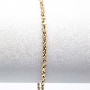 Jewelry - 14k Solid Yellow Gold 2mm Rope Chain Bracelet 7""